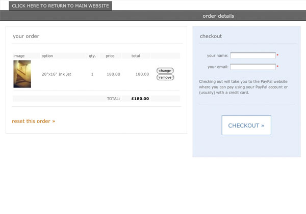 screen shot of checkout window